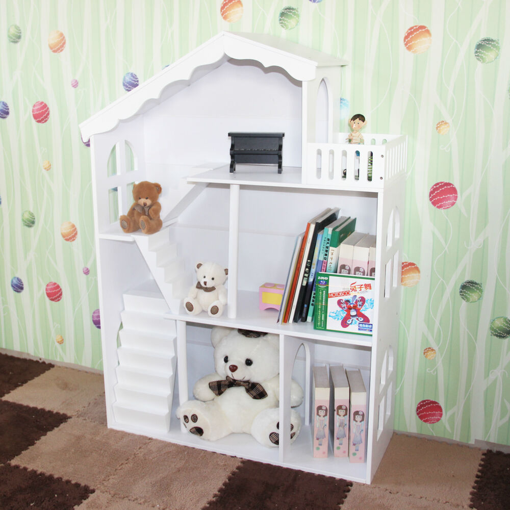 Boy's Girl's White Kids Hand Painted Dollhouse Bookcase