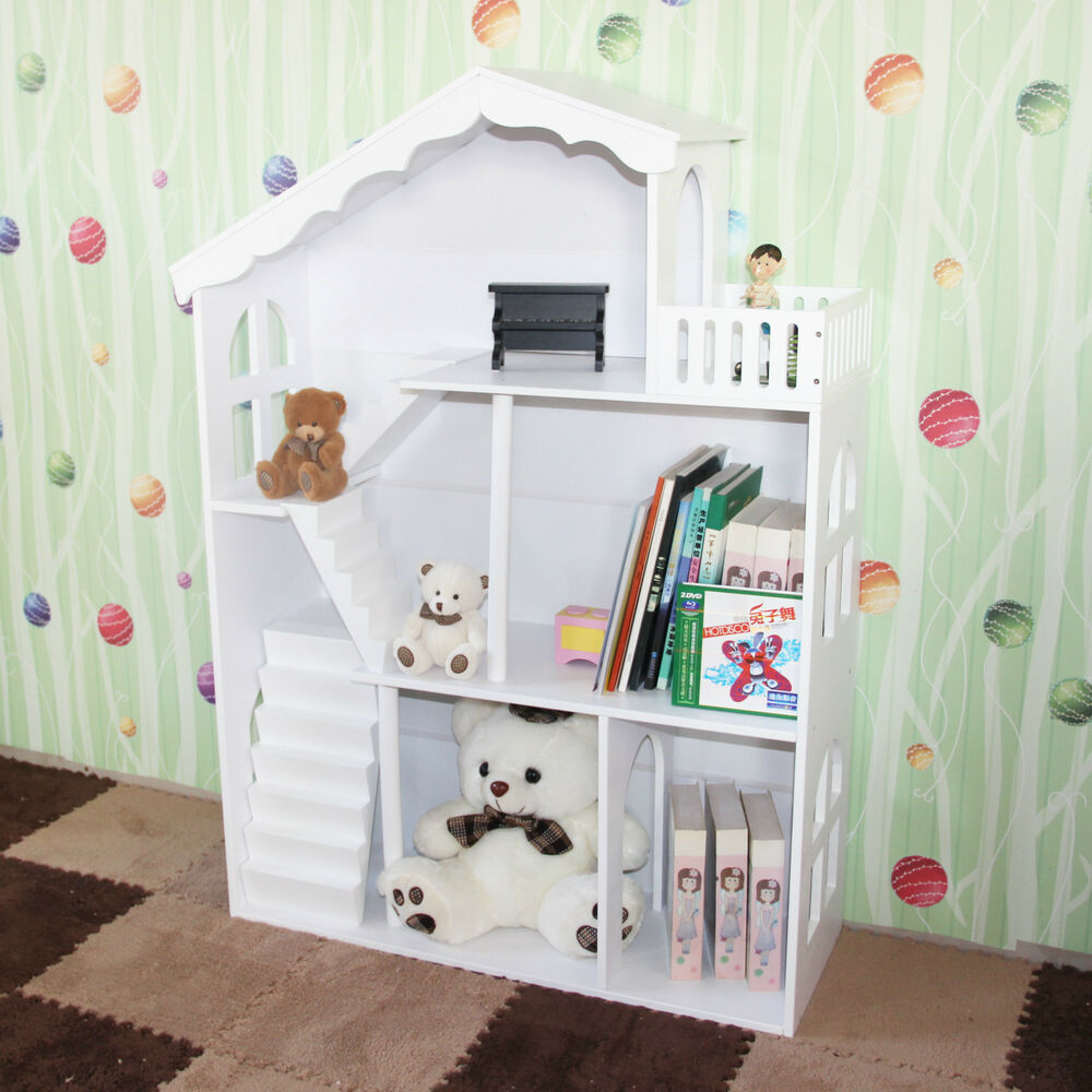 Boy 39 s girl 39 s white kids hand painted dollhouse bookcase book shelf storage unit ebay - Adorable dollhouse bookshelves kids to decorate the room ...