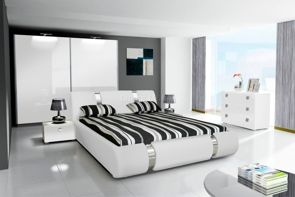 schlafzimmer komplett hochglanz weiss schrank bett 2 nako ebay. Black Bedroom Furniture Sets. Home Design Ideas