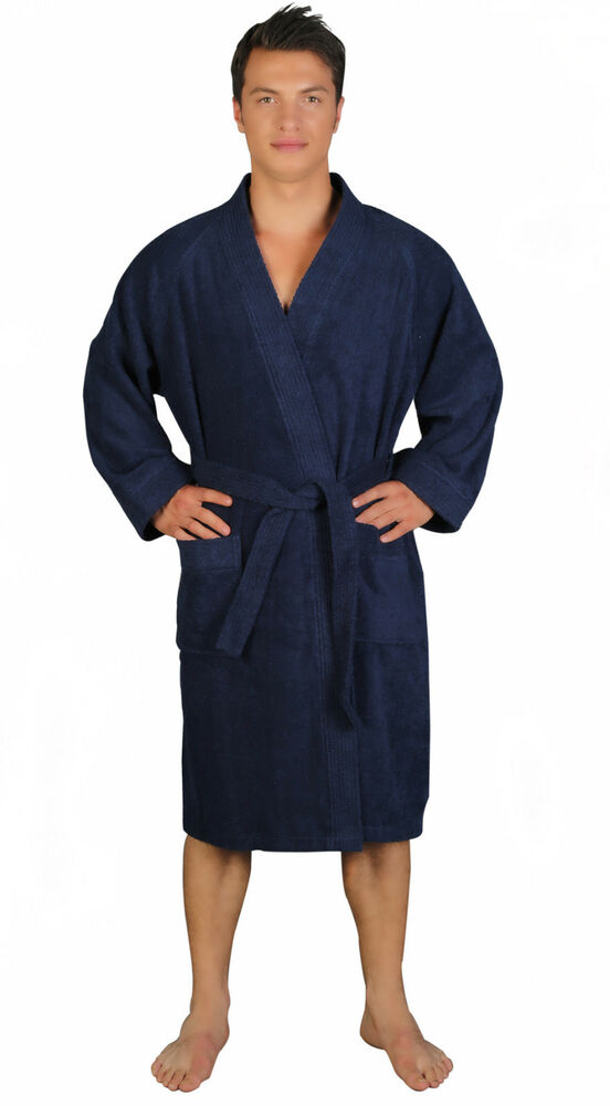 mens archee style 100 turkish cotton terry cloth kimono bathrobe blue s m l ebay. Black Bedroom Furniture Sets. Home Design Ideas