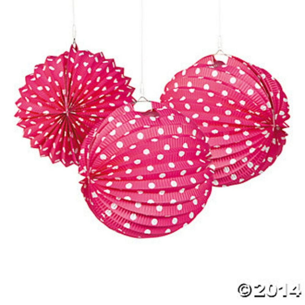 3 hot pink and white polka dot hanging lanterns party