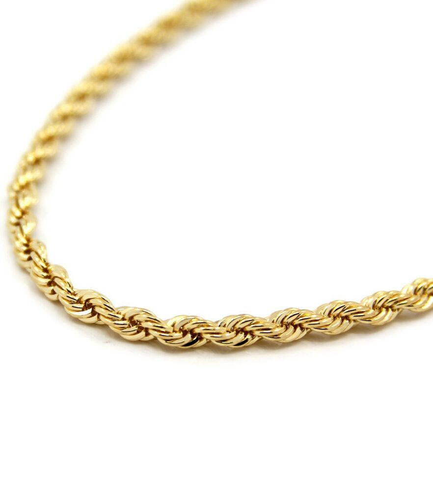mens 14k yellow gold plated 5mm rope chain necklace 30 ebay. Black Bedroom Furniture Sets. Home Design Ideas