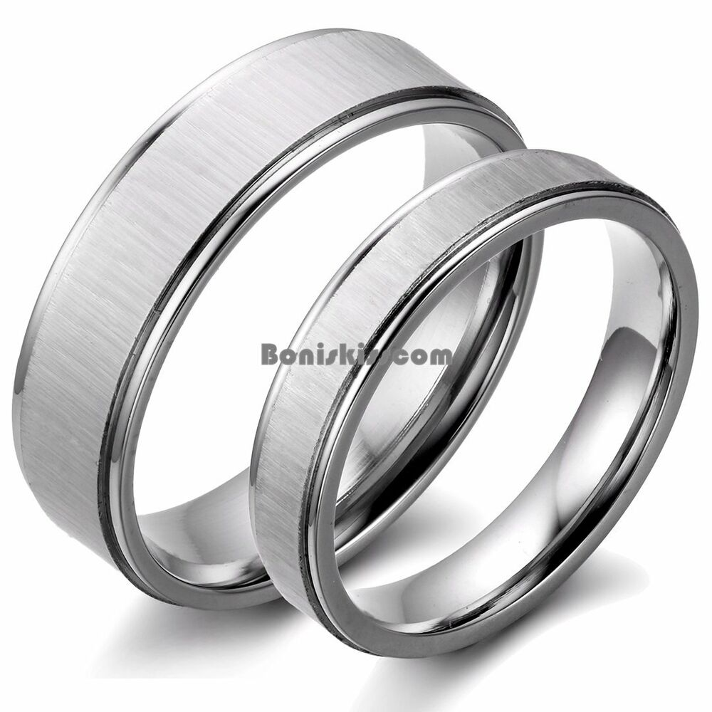 couples brushed stainless steel wedding band