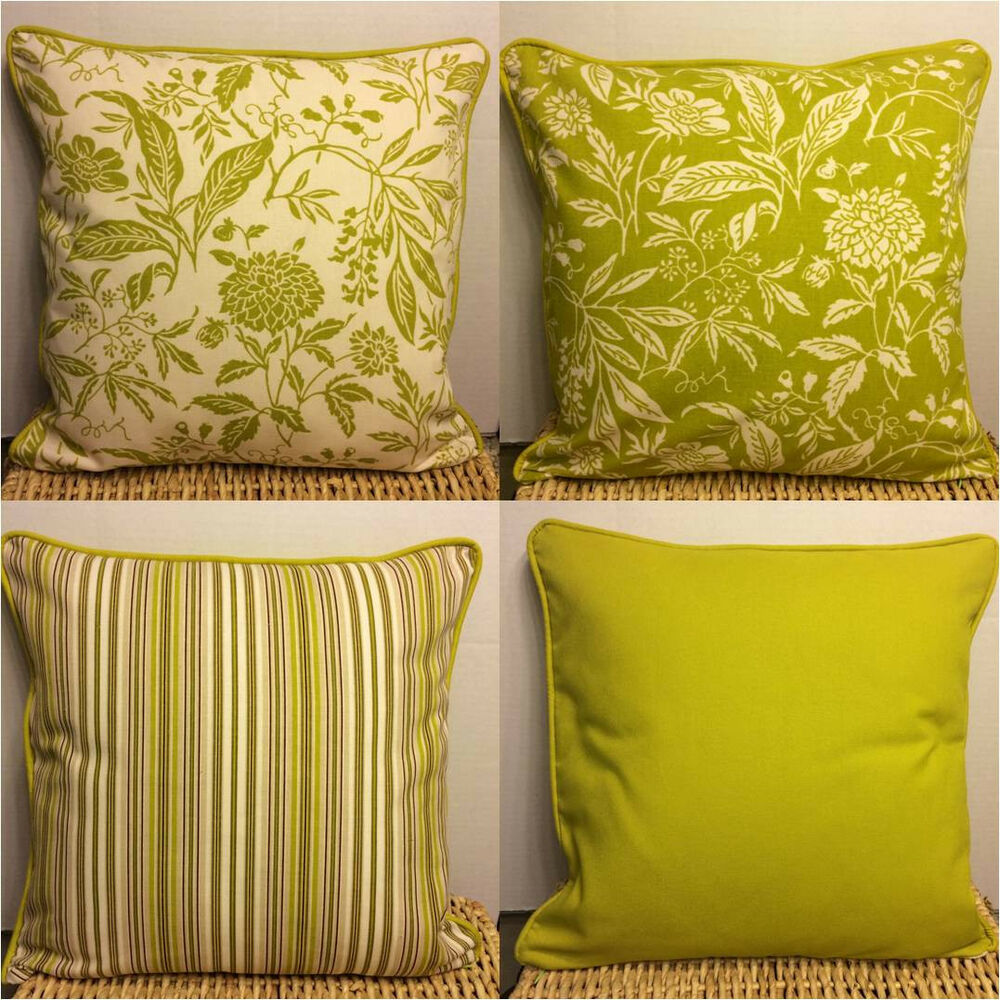 Throw Pillow Covers 18x18 : Throw Pillow Case/Cover in Chartreuse/Green/Mustard Botanical Print 18x18 eBay