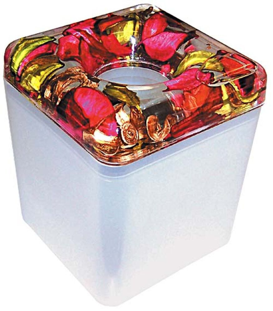 Decorated Tissue Box: Decorative Acrylic Tissue Box With Suspended Rose Petals
