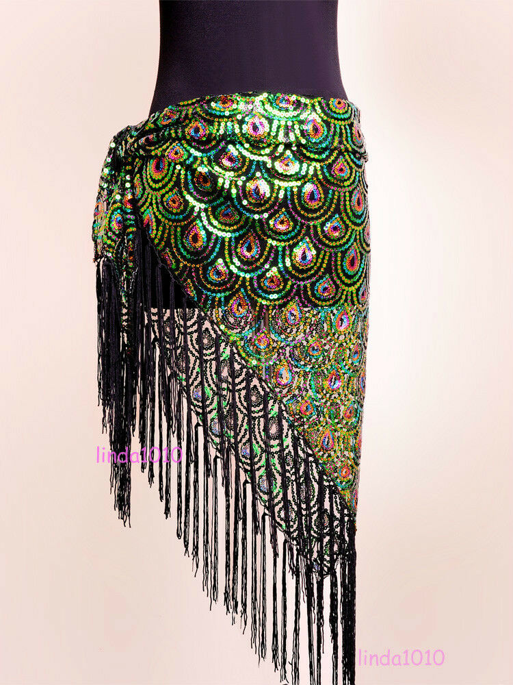New Belly Dance Costume Peacock Hip Scarf Tribal Fringe ...
