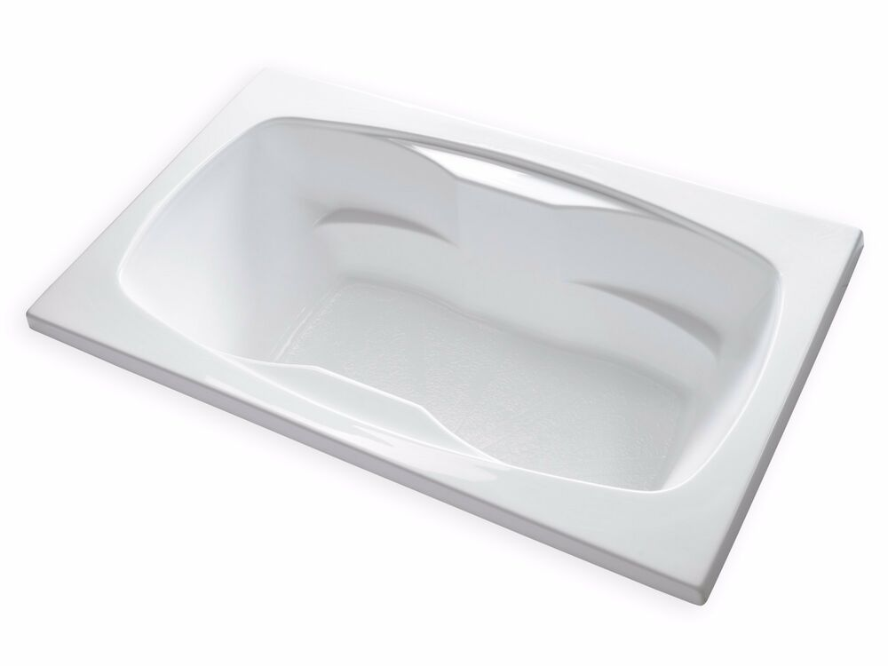 Carver tubs ar7242 72x42 drop in center drain white for Drop in soaker bathtubs