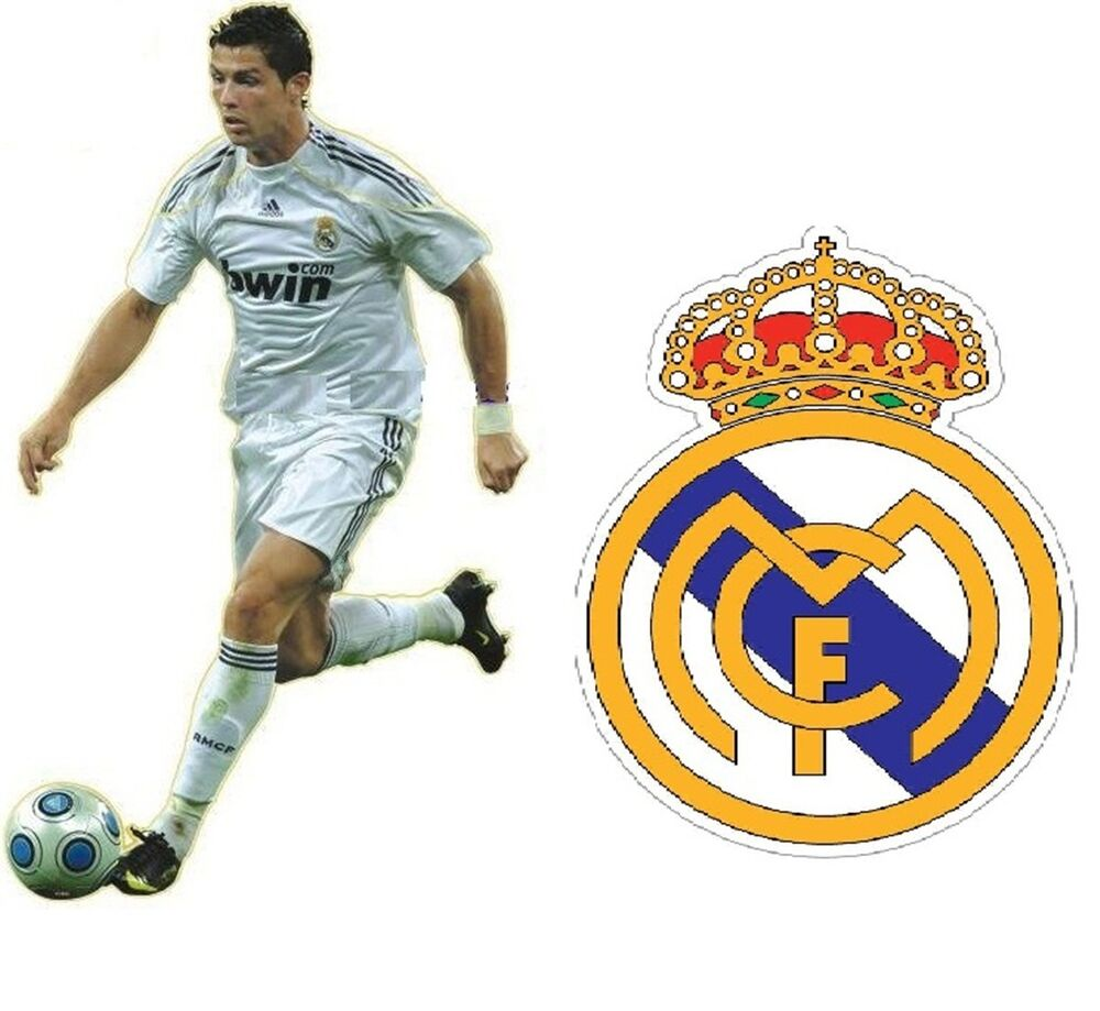 2 X CRISTIANO RONALDO REAL MADRID FOOTBALL CREST WALL ROOM ...