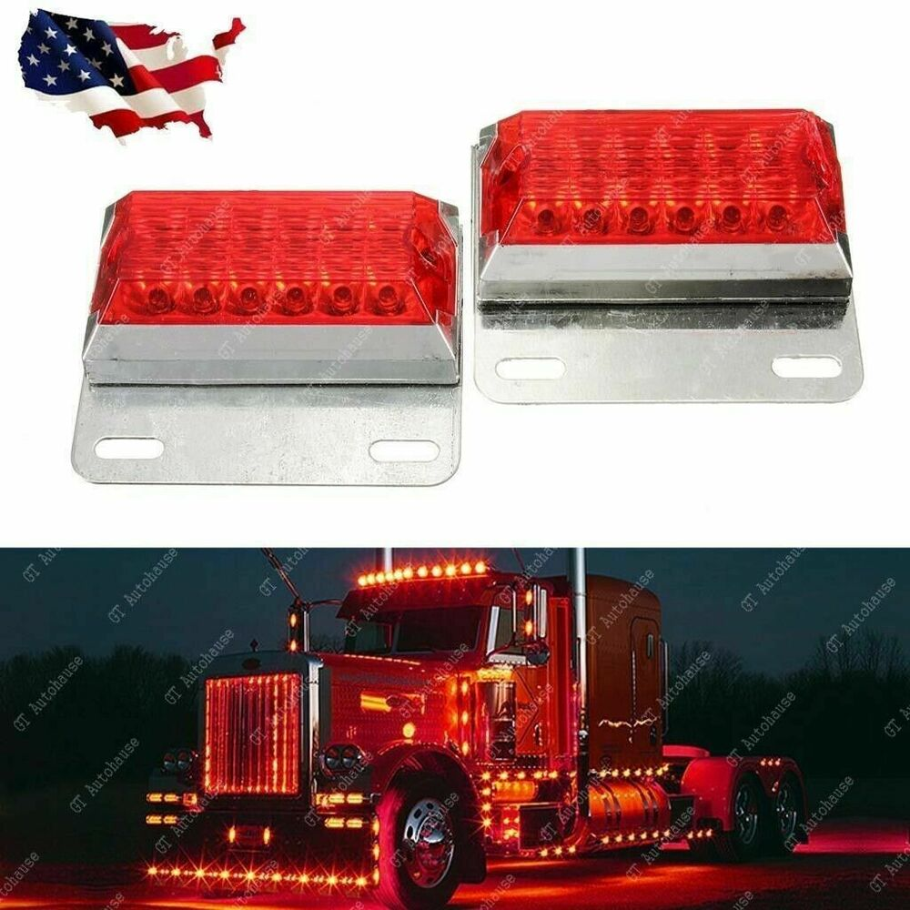 Red Truck Lamp : Pcs red led commercial truck side marker indicator