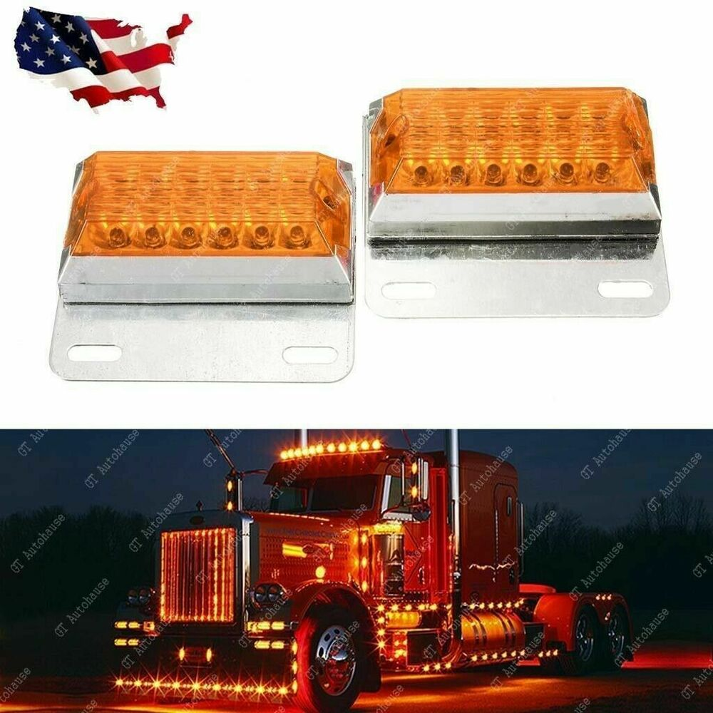 Commercial Vehicle Lighting: 2x Amber 12-LED Side Marker Light 12V 24V Commercial