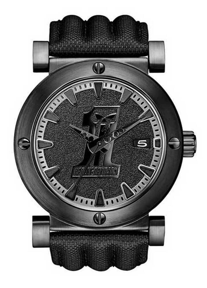 harley davidson men 39 s bulova black 1 racing skull wrist watch 78b131 ebay