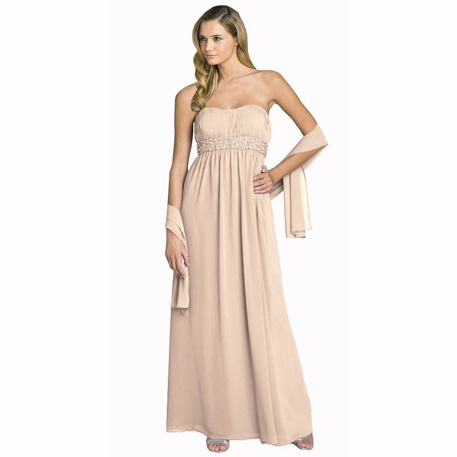 Beaded Strapless Formal Long Evening Gown Bridesmaid Dress