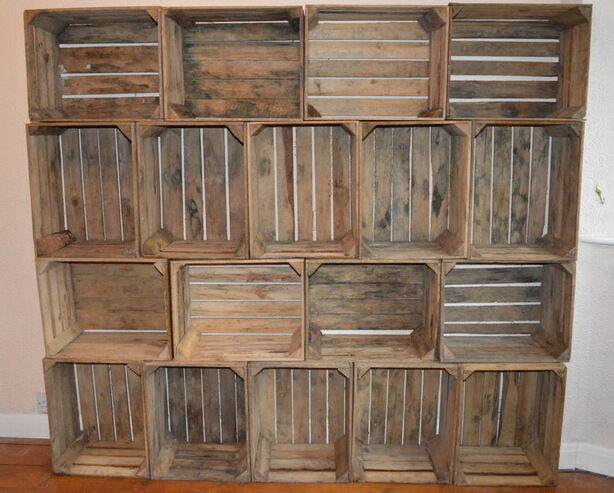 3 vintage wooden apple crates shabby chic storage rustic for Vintage apple boxes