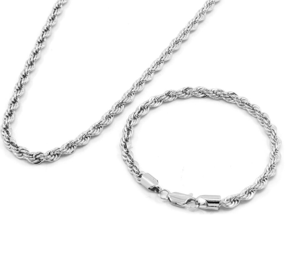 """Silver Rope Bracelet: Men's Silver Chrome Plated 24"""" Inch 5mm Hip-Hop Dookie"""