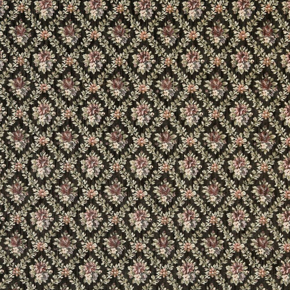 F916 black red and green floral diamond tapestry for Floral upholstery fabric