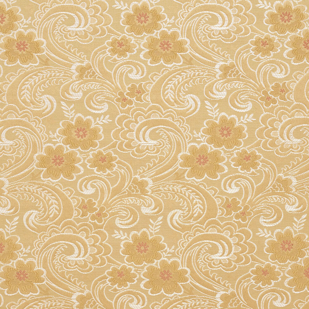 D121 gold white and red paisley floral brocade upholstery for Floral upholstery fabric