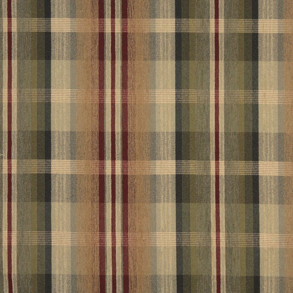 F152 Red And Beige Plaid Chenille Upholstery Grade Fabric