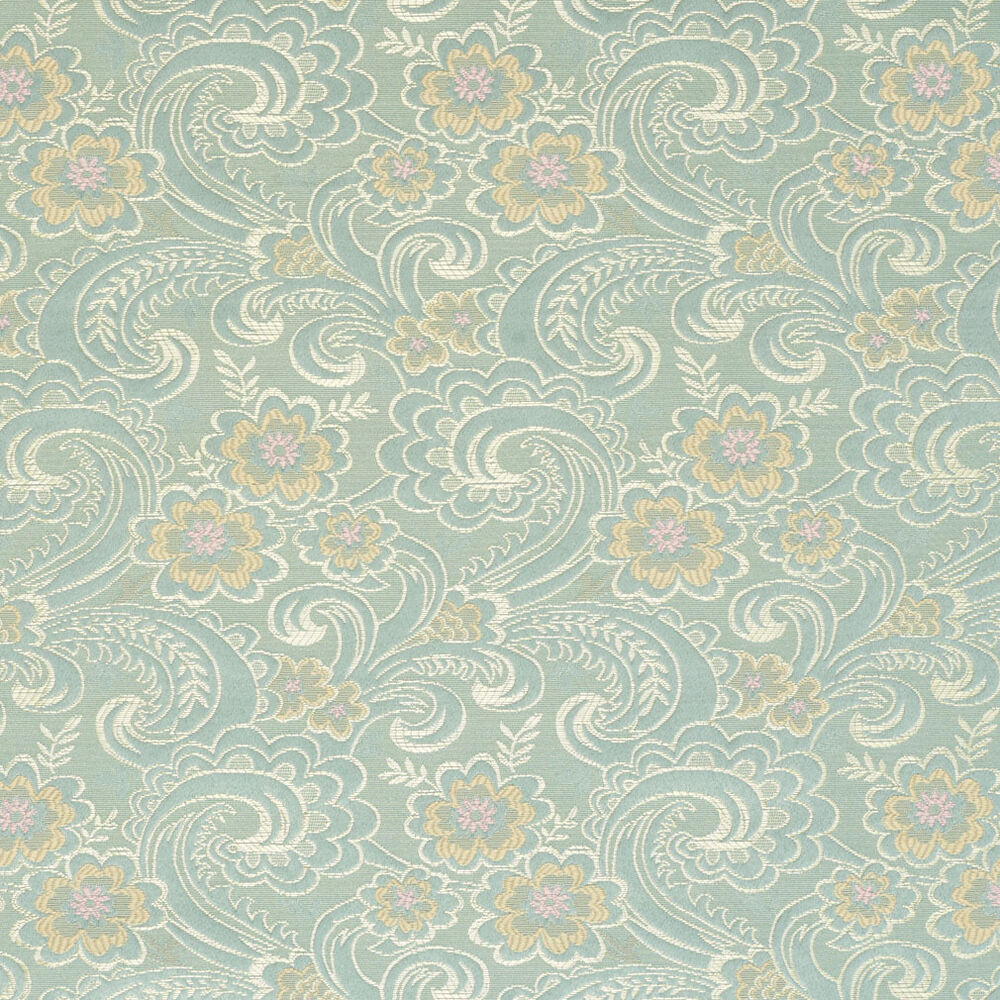 D122 gold pink and blue paisley floral brocade upholstery for Floral upholstery fabric