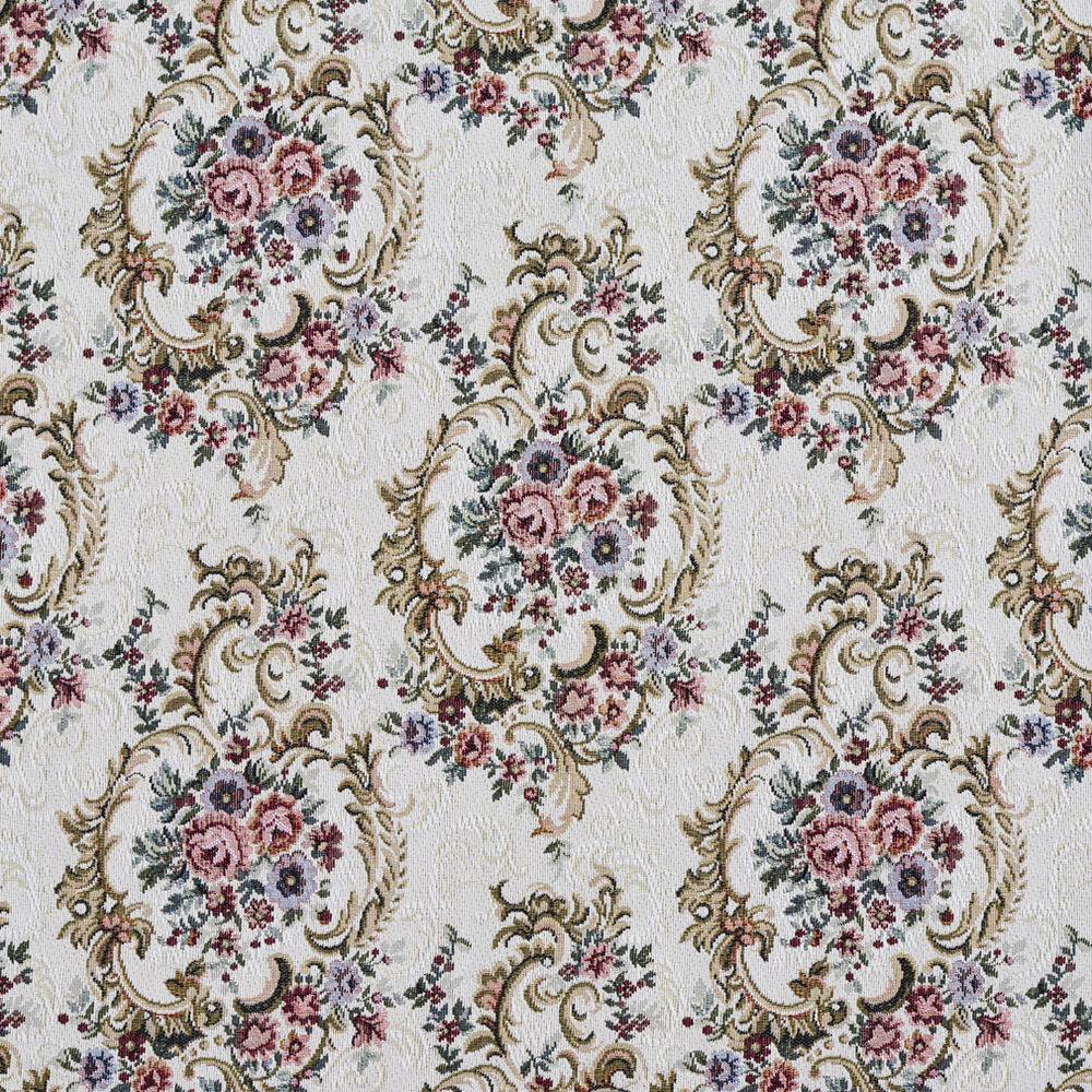 F641 burgundy green and blue floral tapestry upholstery for Floral upholstery fabric