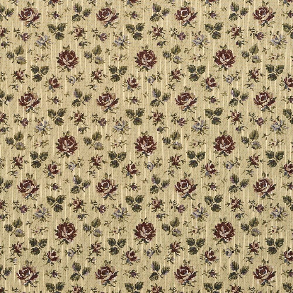 F906 burgundy green and blue floral tapestry upholstery for Floral upholstery fabric