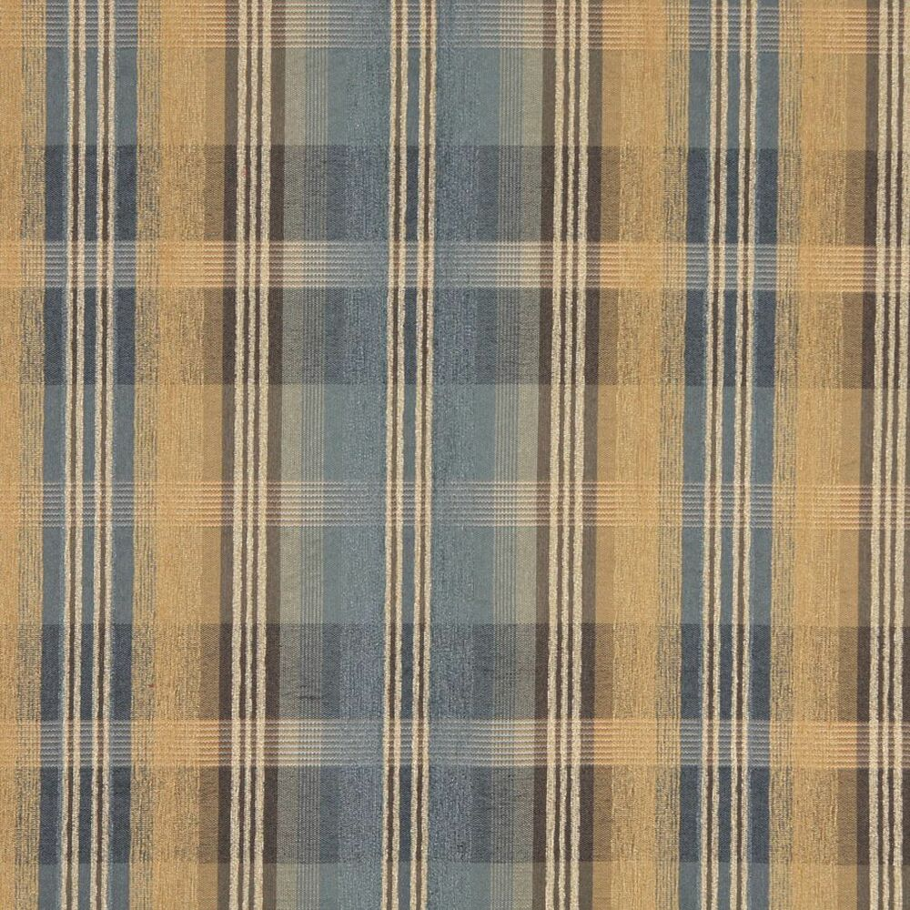 f154 blue brown and gold plaid chenille upholstery grade. Black Bedroom Furniture Sets. Home Design Ideas