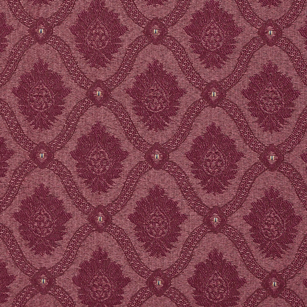 A494 Burgundy Two Toned Brocade Medallion Upholstery
