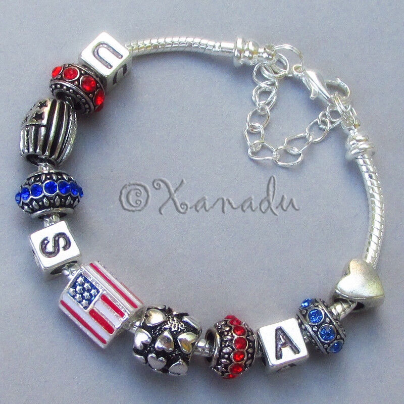 usa european charm bracelet with american flag charms and large hole charm beads ebay. Black Bedroom Furniture Sets. Home Design Ideas