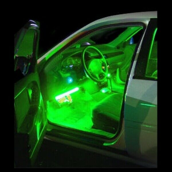 green interior led neon glow lighting kit flexible strips inside cars trucks 12v 639667120280 ebay. Black Bedroom Furniture Sets. Home Design Ideas