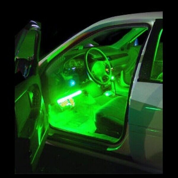 Green interior led neon glow lighting kit flexible strips inside cars trucks 12v 639667120280 ebay for Led car interior lights ebay