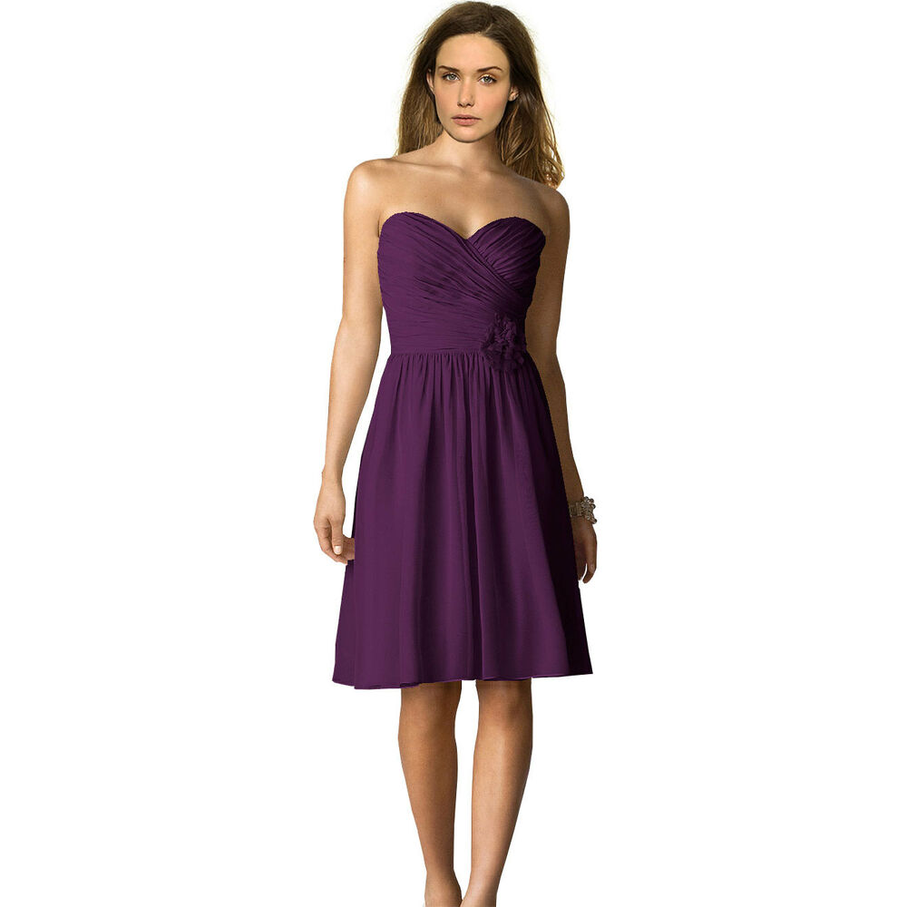 Strapless Short Chiffon Bridesmaid Formal Cocktail Evening