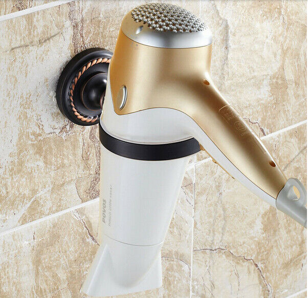oil rubbed bronze bathroom wall mounted stand flat iron holder hair dryer holder ebay. Black Bedroom Furniture Sets. Home Design Ideas