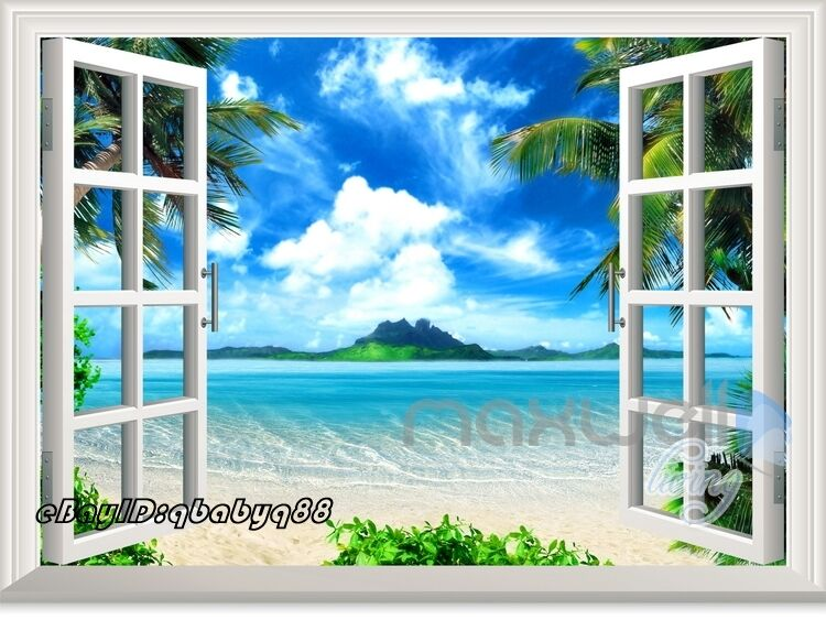 Palm Tree Beach Island 3d Window View Removable Wall Sticker Decal Home Decor Ebay
