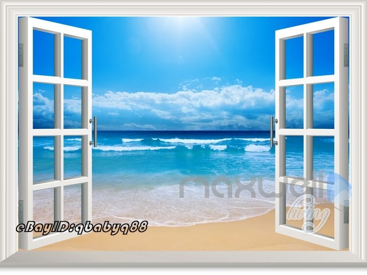 Sunshine beach 3d window view removable wall sticker decal for Beach wall mural decals