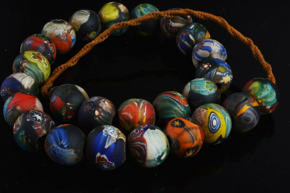 Old Venetian Trade Bead Glass African Necklace Liuli