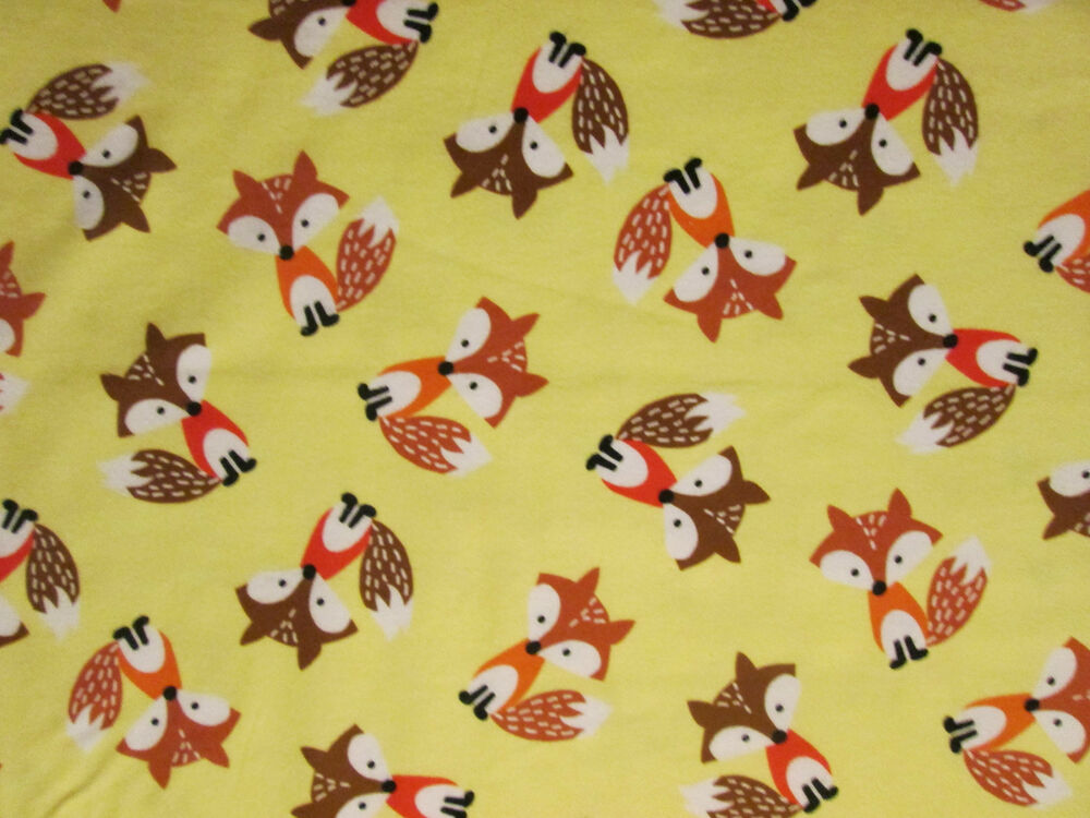 FOX FOXY FOXS COLORS DEEP YELLOW COTTON FLANNEL FABRIC FQ ...