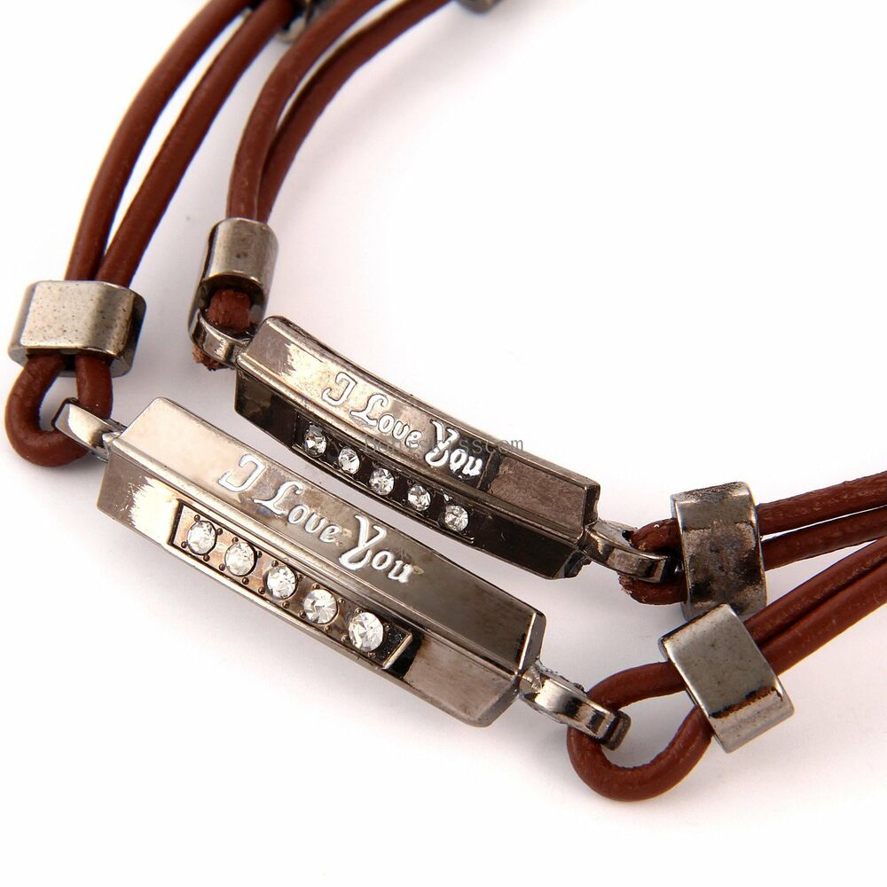 promise bracelet for couples quot i you quot id brown artificial leather 8619