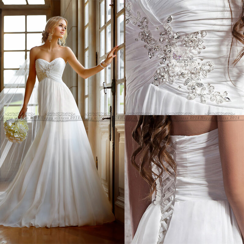 Fashion chiffon summer white ivory wedding dress bridal for Ebay wedding dresses size 12