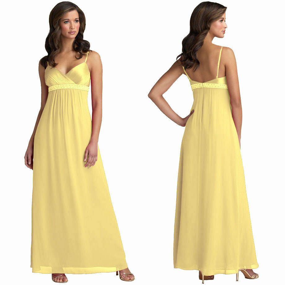 Beaded long chiffon formal evening gown bridesmaid maxi for Yellow maxi dress for wedding