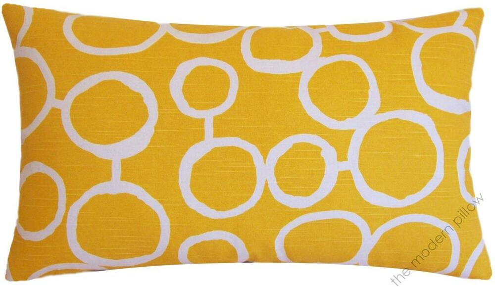 Throw Pillows 20 X 12 Yellow : Mustard Yellow and White Freehand Decorative Throw Pillow Cover 12x20