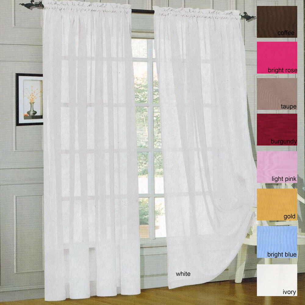 Sheer Voile Window Curtain Panels Drapes