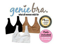 NEW! GENIE BRA with Removeable Pads - White, Black, or Beige - S M L XL 2XL