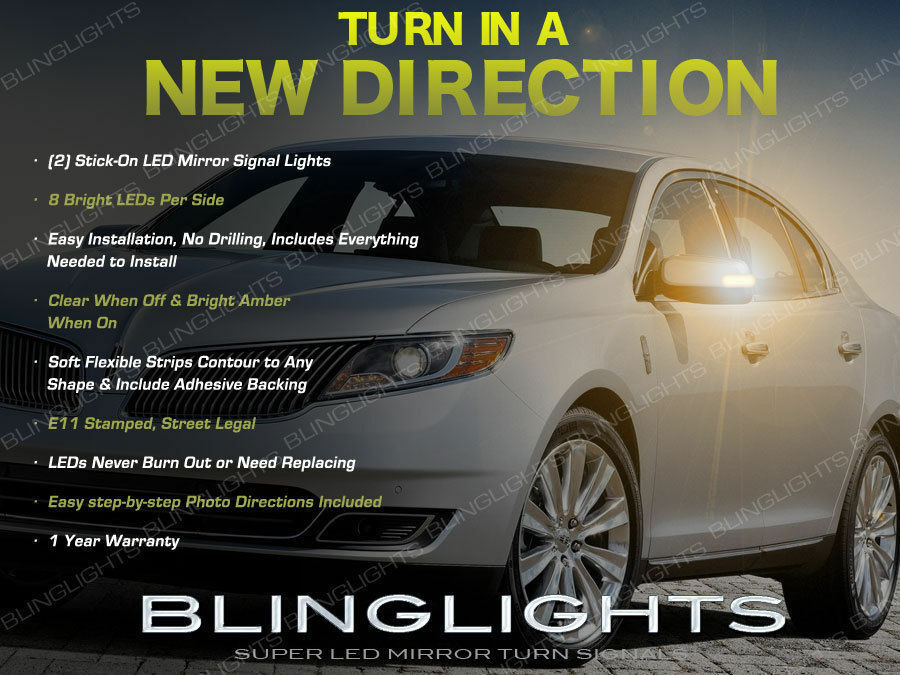 Lincoln Mks Led Side View Mirror Turn Signals Light Set