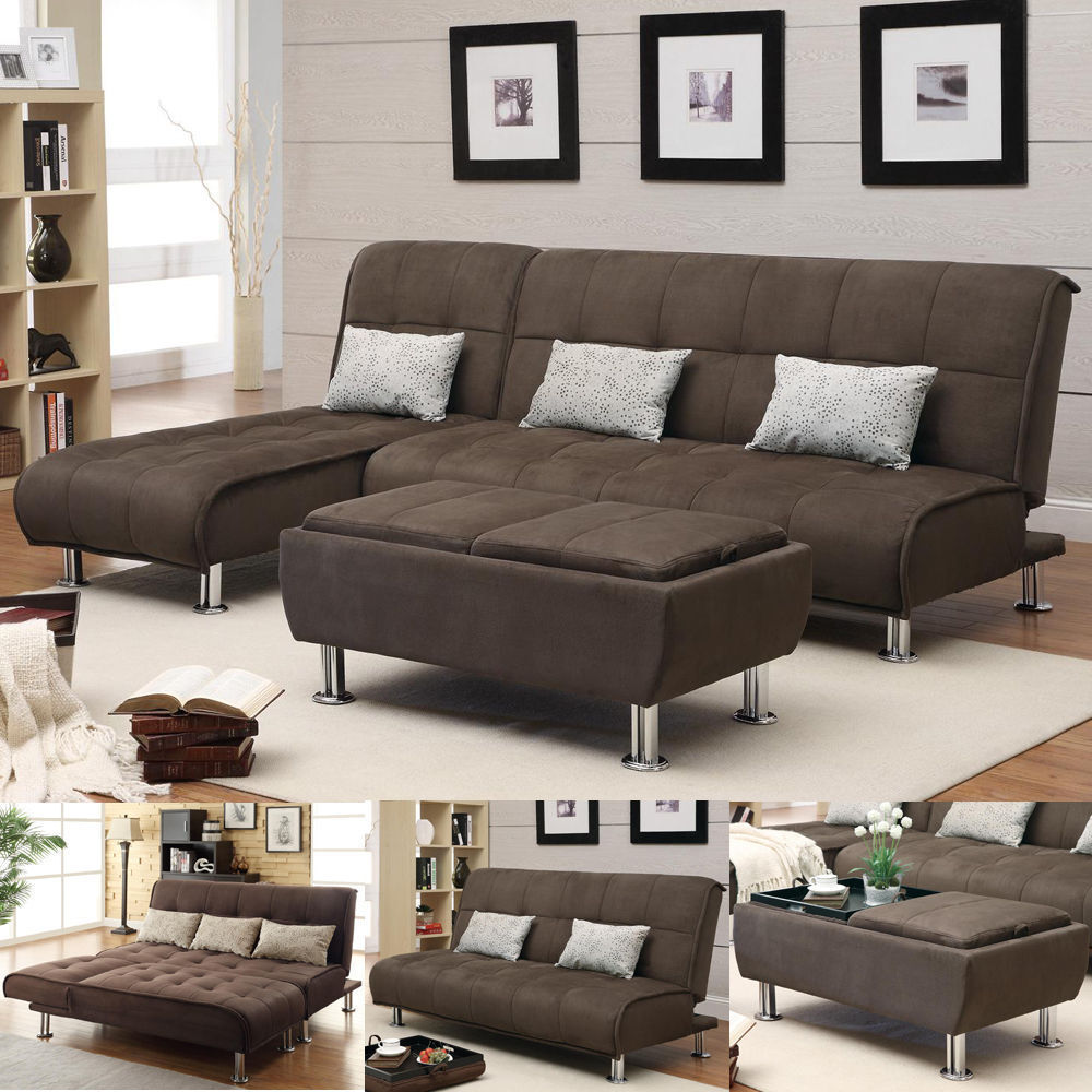 brown microfiber 3 pc sectional sofa futon couch chaise bed sleeper ottoman set ebay. Black Bedroom Furniture Sets. Home Design Ideas