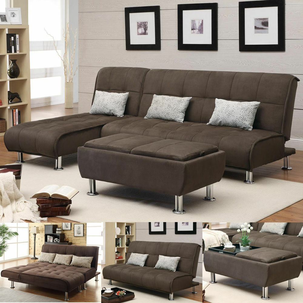 Brown Microfiber 3 Pc Sectional Sofa Futon Couch Chaise Bed Sleeper Ottoman Set Ebay