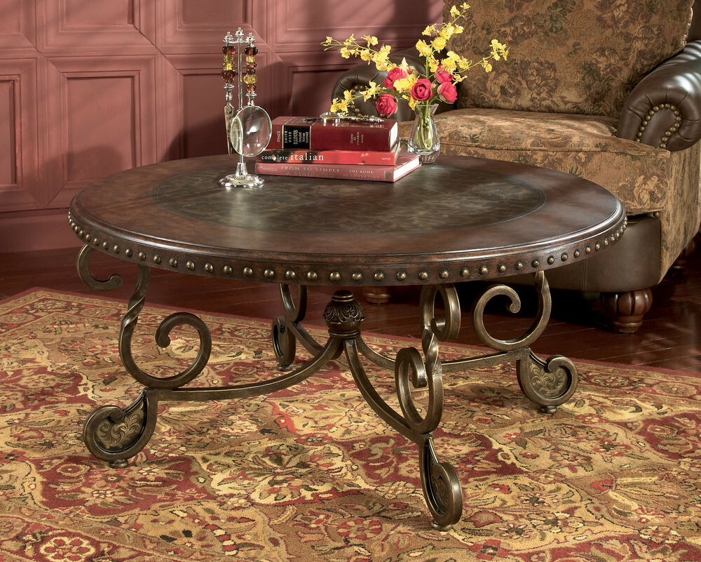 round traditional cocktail coffee table wood metal old world classic brown new ebay. Black Bedroom Furniture Sets. Home Design Ideas