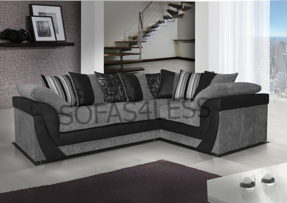 Huge sale new lush corner sofa armchair leather fabric for Black and grey sofa