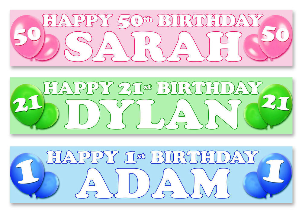 2 x personalised birthday banner 40 quot long any name 1st 18th 21st 30th 40th ebay