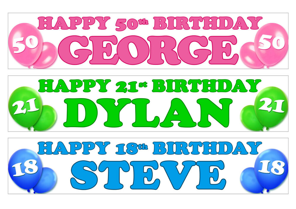 personalised birthday banner any name 1st 18th 21st 30th 40th pack of two ebay