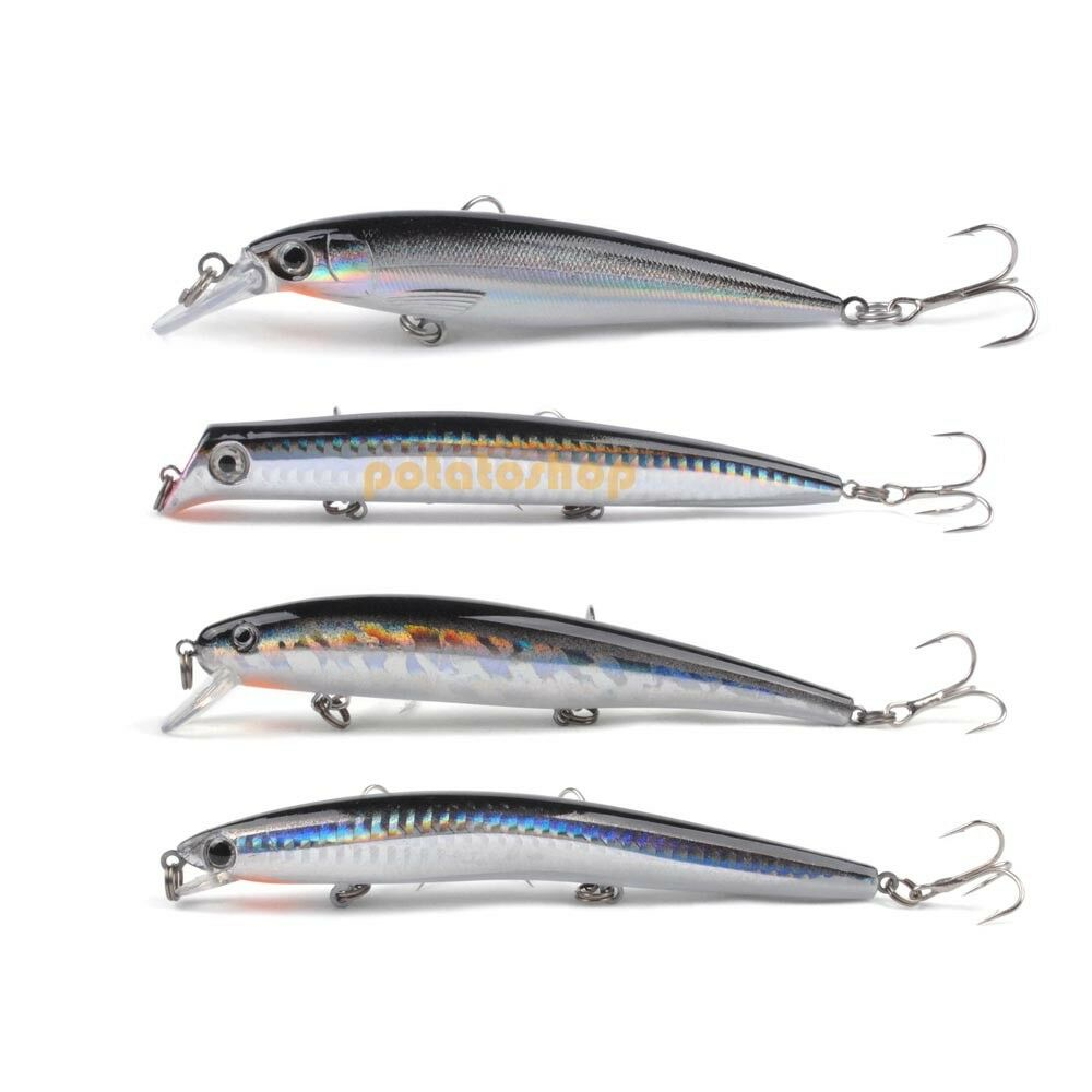 Sea fishing lure coarse pike lure set 4 plug popper minnow for Fishing lures ebay