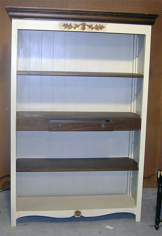 Distressed White Bookcase With Center Drawer Shelf